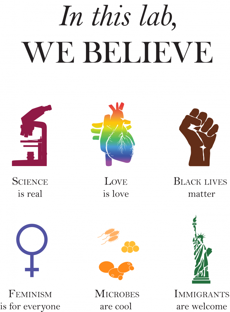 Poster text reads: In this lab, we believe: science is real (microscope image), love is love (rainbow anatomical heart), black lives matter (brown raised fist), feminism is for everyone (female symbol), microbes are cool (image of microbes), immigrants are welcome (statue of liberty).